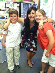 Open House at our school.  Miss G with Sophia & Isaac D-H