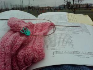 Following a knitting pattern.