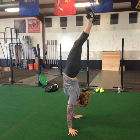 Denise working on handstands at CFES.